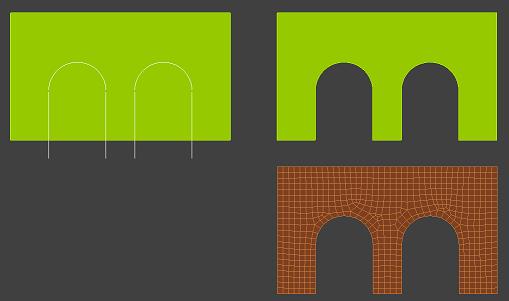 采用已有单元组成分界线,而不采用直接输入分界线,这得边界的定义更为容易,也更符合实际使用需要。因为拆分超元的边界,其位置都是特定的、需要精确定位的。在实施超元拆分之前,利用软件的功能精确定位输入线、弧等单元作为边界,是更为实际的操作。虽然直接输入边界,在软件编程上更易于实现,而选择已有图形边界涉及复杂的相互关系的判别。