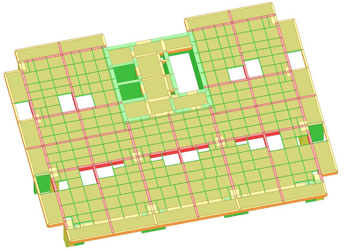 复式办公楼,是一种较为常见的结构。主体结构层高较大,在一个建筑单元内部,由业主自主夹层,得到良好的内部使用空间。结构分为主体、夹层两部分。主体部分一般采用框架-筒体结构,夹层多为钢结构。 从结构角度看,复式办公楼属于复杂结构。主要由于夹层在主体结构中作用:荷载的传递,与主体的连接。而与主体连接的方式,决定夹层参与主体整体受力(参与风、地震等侧向作用)的程度。 夹层需参与整体分析。具体夹层的方式很多,但无论何种方式,夹层均应参与整体分析。对于完全由业主决定的、与主体完全铰接的次结构方式,其实更为复杂因为需