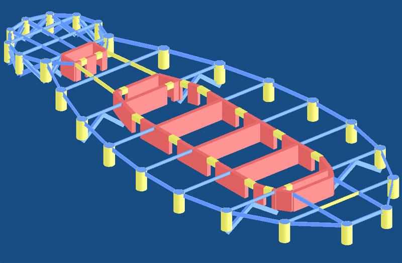 从振型图上可看出,由于结构平面形状特殊,横向、扭转高阶振型呈现特殊的形态,如第8、第9、第11振型。该结构平面呈狭长形,且沿长度方向抗侧力结构类型不同:主体部分为框剪结构,端部小圆应归类为密排框筒。这两种结构类型的侧向变型形态不尽一致,且两部分之间有一定的间距,因此在具有多个反弯点的高阶振型下,这种变形差异得到放大。 为分析这种特殊振型的特点,利用Strat软件选择显示部分结构的功能,将其中的第9振型沿长度分成三个部分分别显示。如右图。从图中可看出,左端为有两个反弯点的弯曲,右端也为有两个反弯点的弯曲,但