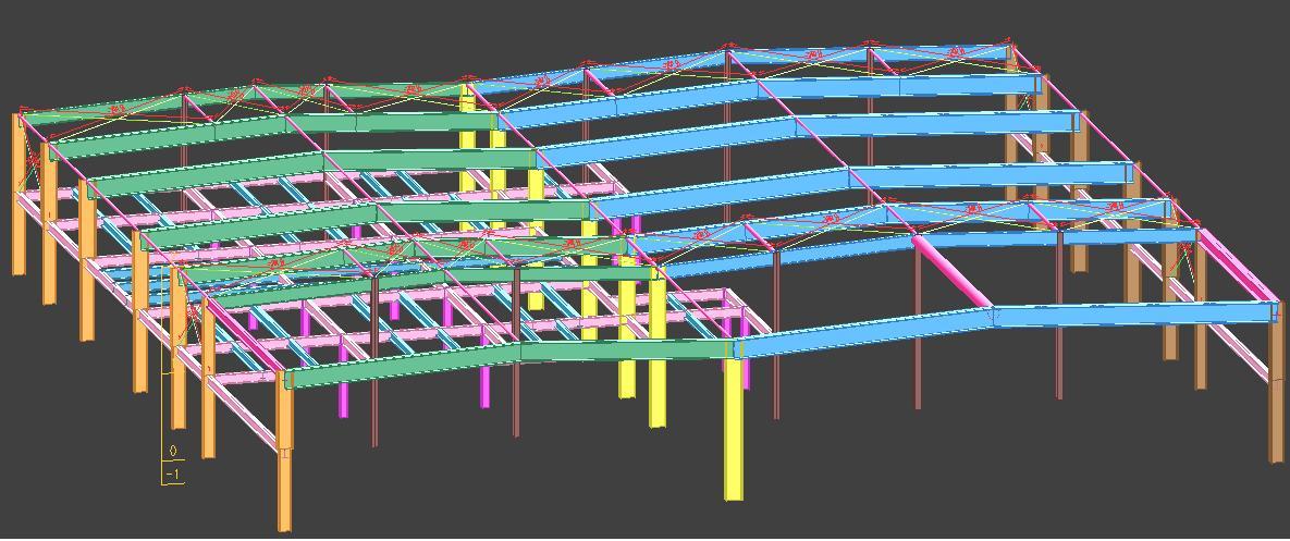 为钢筋混凝土框排架结构,由纵横向梁,柱及楼屋面结构组成空间承重体系